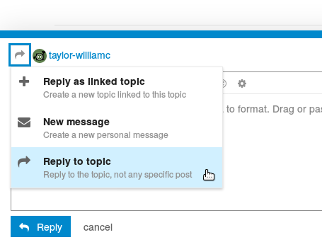 """Screenshot showing that there is an option to """"Reply to topic"""" in the menu that drops down from the unlabelled forward curling arrow thing when composing a new post."""