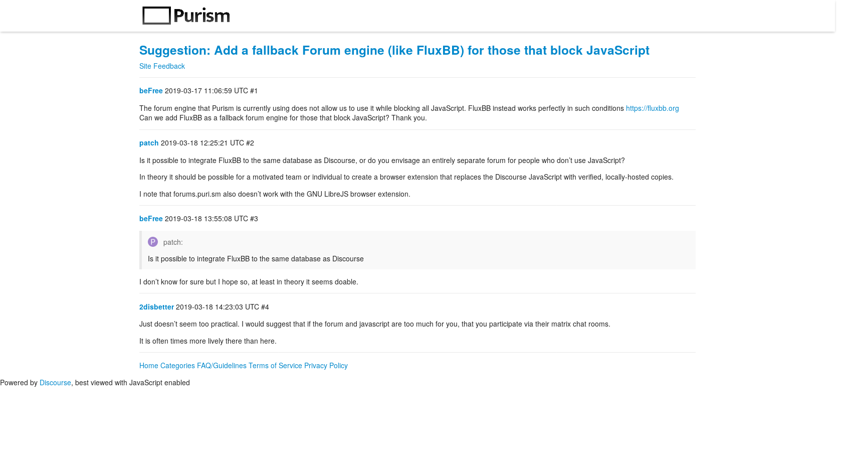 Suggestion: Add a fallback Forum engine (like FluxBB) for those that